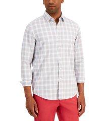 club room men's nylon wicking performance stretch plaid shirt, created for macy's