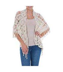 100% alpaca shawl, 'andean blossoms' (peru)