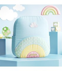 mochila infantil menina arco-íris bordada grão de gente azul