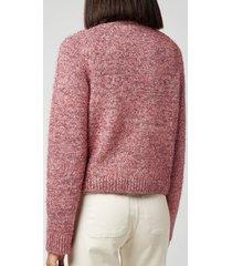 ganni women's chunky glitter knitted cardigan - pink nectar - l
