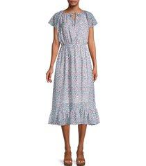 love ady women's floral-print midi dress - light blue multi - size s
