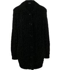 dolce & gabbana spread-collar cardigan coat - black