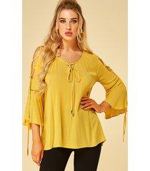 yoins amarillo con cordones diseño redondo cuello blusa con mangas acampanadas
