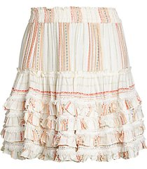 striped ruffle pull-on skirt