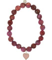 enamel heart pink agate bracelet