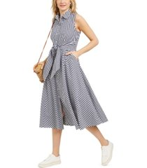 charter club mommy & me petite cotton gingham-print tie-waist shirtdress, created for macy's
