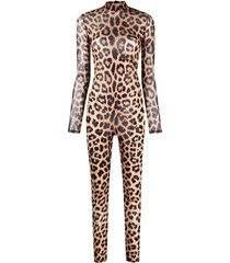philipp plein long-sleeved leopard-print jumpsuit - neutrals