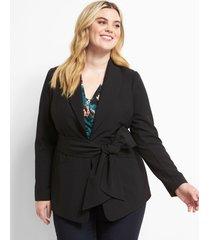 lane bryant women's shawl collar belted blazer 12 black