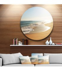 "designart 'wide seashore with crystal waters' beach metal circle wall art - 38"" x 38"""