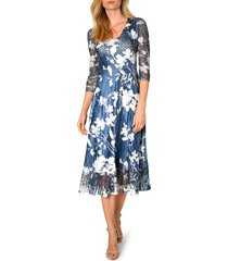 women's komarov charmeuse & chiffon a-line dress