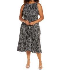 plus size women's halogen print plisse sleeveless dress, size 3x - black