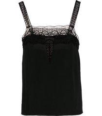 alberta ferretti square neck lace detail vest - black