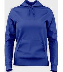 damska bluza z kapturem (bez nadruku, gładka) - niebieska