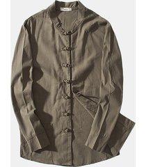 giacca casual vintage in lino di cotone monopetto a tinta unita da uomo