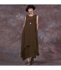 zanzea estilo chino moda nueva mujer casual vestido suelto algodón vestidos de lino largo maxi vestidos tallas grandes femininas (café) -marrón