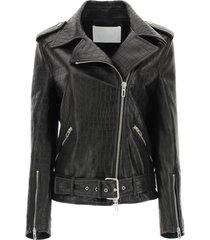drome crocodile print leather biker jacket