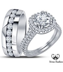 men's women's engagement ring wedding band trio set diamond white gp 925 silver