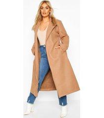 plus oversized self belted long coat, camel