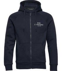 m original zip hood hoodie trui blauw peak performance