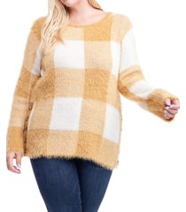 fever plus size plaid button-side sweater