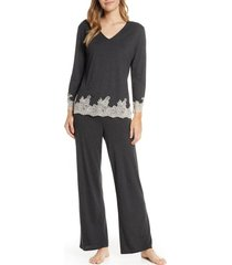 women's natori luxe shangri-la pajamas, size x-small - grey