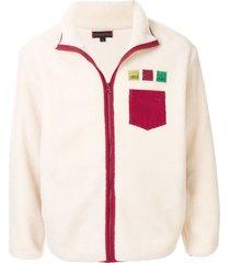 clot badge-appliqué fleece jacket - white