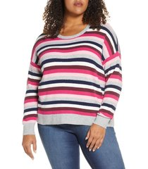 plus size women's court & rowe multistripe crewneck sweater, size 1x - pink