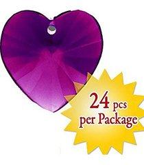 magnificent 14mm purple heart crystal prism charm pendant party decor 24 pcs