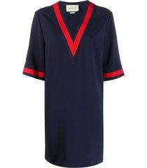 gucci oversize viscose shirt with web - blue