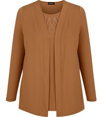 2-in-1-shirt m. collection cognac