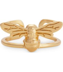 oliva burton lucky bee statement ring in gold-plated brass