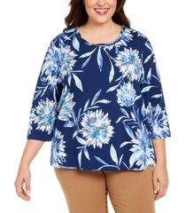 alfred dunner plus size sapphire skies dramatic floral-print knit top