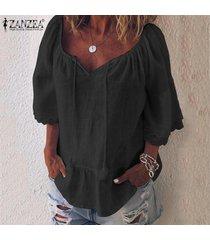 zanzea blusa de playa de retazos de encaje para mujer camisas de algodón holgadas ocasionales tops camisas -negro