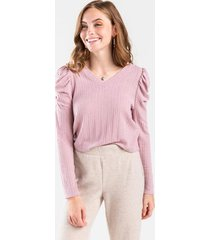 bailey round shoulder knit top - blush