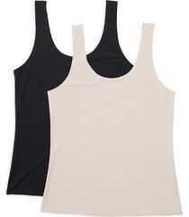ava & aiden women's 2-pack shapewear scoopneck tank top set - nude - size m