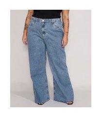 calça jeans feminina plus size mindset wide rio cintura super alta azul médio marmorizado