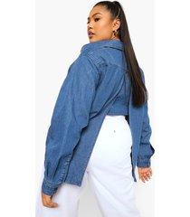 plus oversized spijkerblouse met rug split, mid blue