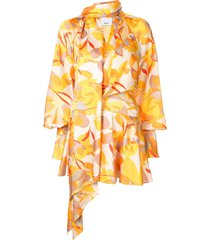 acler bradley draped abstract-print dress - yellow