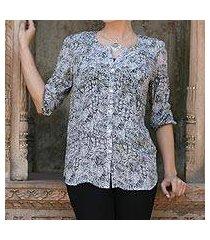 silk blouse, 'black garden' (india)
