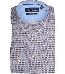 bos bright blue print overhemd 927670/507