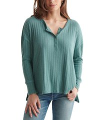 lucky brand soft ribbed cotton henley top