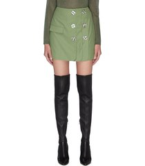 'just the same' double button a-line mini skirt