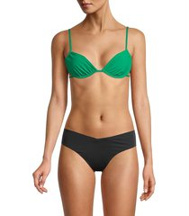 weworewhat women's ruched underwire bikini top - emerald - size xs