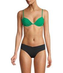 weworewhat women's ruched underwire bikini top - black - size s