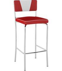 banqueta alta retrô pb17 assento vinil vermelho encosto branco - pozza