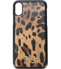 dolce & gabbana leopard print iphone x case - brown