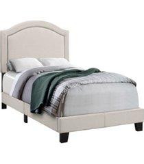 monarch specialties antique brass trim twin bed in beige linen