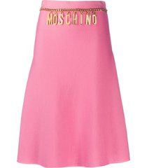 moschino logo belted a-line skirt - pink