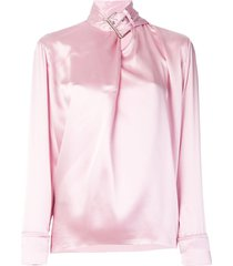 satin buckle neck blouse