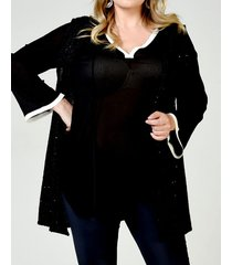 chaleco negro lecol talles reales lila plus size